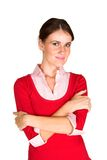 Young woman with folded arms stock images