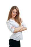 Young woman with folded arms Royalty Free Stock Images