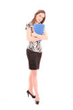 Young woman with folder. Attractive young businesswoman clutching blue folder, isolated on white background stock photos