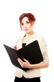 Young woman with folder Royalty Free Stock Image