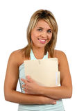 Young woman with folder Stock Photo
