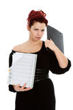 Young woman with folder of documents Stock Photos