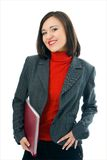 Young woman with folder documents Stock Photo