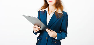 Young woman with a folder in hands Royalty Free Stock Images