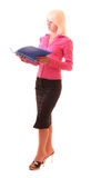 Young woman with folder isolated Stock Photo