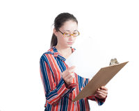 Young woman with a folder Stock Image