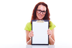 Young woman with folder Stock Images