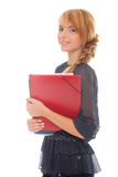 Young woman with folders Stock Photos