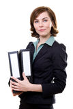 Young woman with folders Royalty Free Stock Image