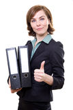 Young woman with folders Stock Images
