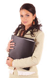 Young woman with folders of documents for contract. Young woman in suit with folders of documents for contract Royalty Free Stock Photo