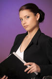 Young woman with folders of papers Stock Images
