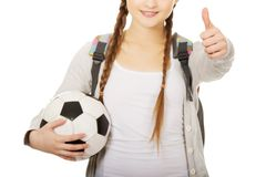 Young woman with foot ball. Stock Images