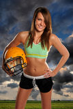 Young Woman With Football Helhet Royalty Free Stock Photography