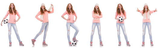The young woman with football isolated on white. Young woman with football isolated on white Stock Photography