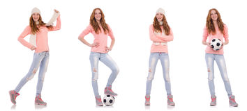 The young woman with football isolated on white Royalty Free Stock Photos