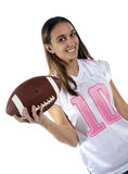 Young woman football and jersey Royalty Free Stock Photography