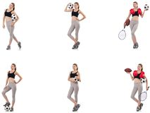 The young woman with football, rugby ball, boxing gloves and tennis racquet. Young woman with football, rugby ball, boxing gloves and tennis racquet royalty free stock image