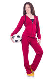 Young woman with football Royalty Free Stock Image
