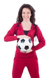Young woman with football Royalty Free Stock Photo
