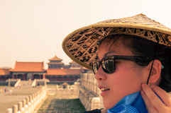 Young Woman at the Forbidden City Royalty Free Stock Image