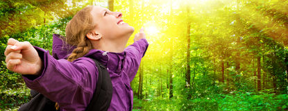 Young woman in forest. Young happy in woman in sunny forest Stock Photo