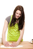Young woman forming flour for baking Royalty Free Stock Images