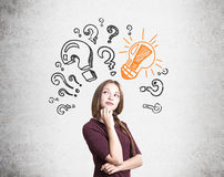 Young woman found answer Stock Photo