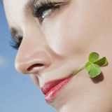 Young woman with four-leaf clover royalty free stock photos