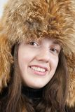 Young woman in  fox hat Royalty Free Stock Images