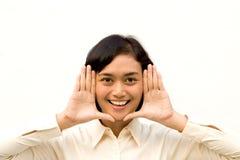 Young woman framing face stock photos