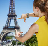 Young woman framing with hands in Paris, France Stock Images