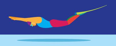 Young woman is Free diver. Vector illustration Royalty Free Stock Photos