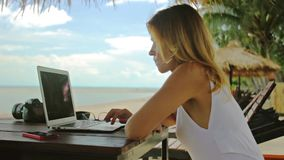 Young woman freelancer sitting at the sunbed with a laptop stock footage