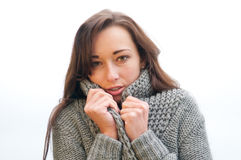 Young Woman Freezes Royalty Free Stock Photography