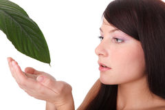 Young woman and fresh leaf of a plant Stock Images