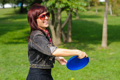 Young woman with frisbee Royalty Free Stock Photo