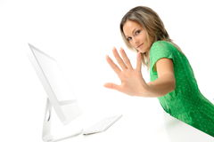 Young woman in front of the computer Royalty Free Stock Images