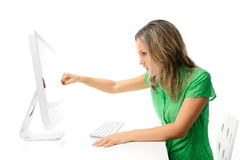 Young woman in front of the computer Royalty Free Stock Image