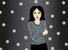 Young woman froze. Portrait pop-art. Isolated on dark background Royalty Free Stock Images