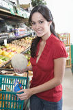 Young Woman Fruit Shopping In Supermarket Stock Image