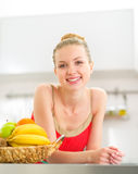 Young woman with fruits Royalty Free Stock Photography