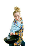 Young Woman With Frying Pan Royalty Free Stock Photos
