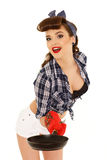 Young woman with frying pan. Royalty Free Stock Image