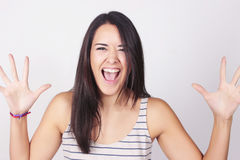 Young woman with funny expression Royalty Free Stock Images