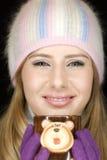 Young woman with funny mug stock photos