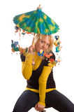Young woman with funny umbrella Royalty Free Stock Photography