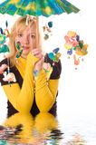 Young woman with funny umbrella Stock Image