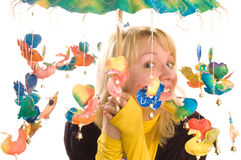 Young woman with funny umbrella Stock Images