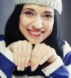 Young woman in funny winter hat. Playful young woman in funny winter hat Stock Photo
